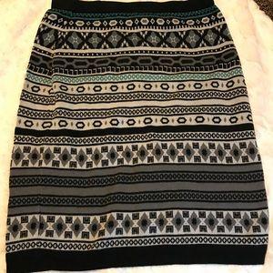 Knit skirt: black white and teal